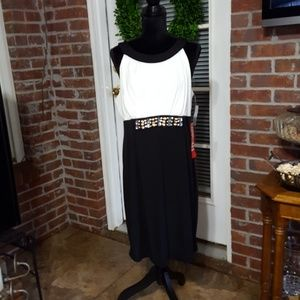 AA Studio black white holiday beaded dress NWT 16